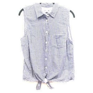 J CREW Gingham Button Down and Tie Bottom Shirt